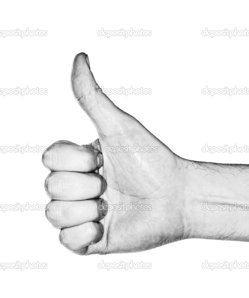 Black and white image of a hand making a thumb up gesture. Photographed with ring flash. — Stock Photo #11414749