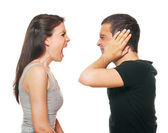 Unhappy young couple having an argument — Stock Photo