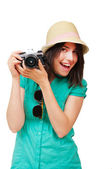 Portrait of a happy young tourist — Stock Photo