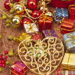 Heart and ball shape of Christmas Decorations — Stock Photo