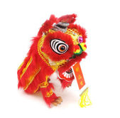 Traditional dancing lion isolated on white. — Stock Photo