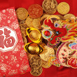 Chinese New Year Ornaments--Traditional Dancing Dragon,golden coin and Money Red Packet,red firecracker - Стоковая фотография