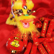 Stock Photo: Chinese New Year Ornaments--Traditional Dancing Dragon,golden coin and Money Red Packet,red firecracker
