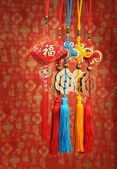 лаки узел для китайского нового года приветствие — Стоковое фото