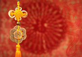 Lucky knot for Chinese new year greeting — Stock Photo
