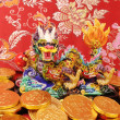 Stok fotoğraf: Chinese New Year Ornaments--Traditional Dancing Dragon,golden coin and Money Red Packet,red firecracker