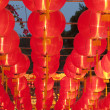 Festive chinese red lantern decorations — Stock Photo