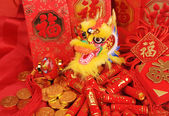 Chinese New Year Ornaments--Traditional Dancing Dragon,golden coin and Money Red Packet,red firecracker — Stock Photo