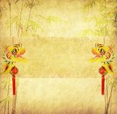 Projeto de árvores de bambu chinês com textura de papel artesanal — Foto Stock