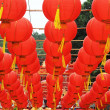 Red lanterns with chinese letters printed. It brings good luck and peace to prayer — Stock Photo #11753625