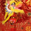 Royalty-Free Stock Photo: Chinese New Year Ornaments--Traditional Dancing Dragon,golden coin and Money Red Packet,red firecracker