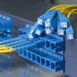 Fiber optical network cables patch panel and switch — Stock Photo #11788114