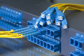 Fiber optical network cables patch panel and switch — Stock Photo