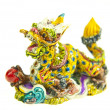 Colorful chinese dragon statue on white background — Photo #11868267