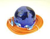 Estilo de tecnología mundial mapa trasfondo fibra óptica — Foto de Stock