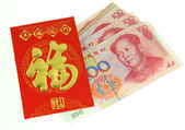 Chinese New Year Ornaments--Traditional Dancing Dragon,golden coin and Money Red Packet,red firecracker — Stok fotoğraf