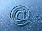 Abstract E-mail on liquid bubbles for website — Stock Photo