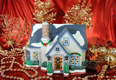 House of christmas card with Decorations — Stock Photo