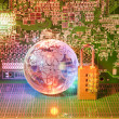 Electronic printed circuit board with  technology style against fiber optic background — Стоковая фотография