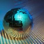 World map technology style against fiber optic background — Stock Photo #11907389