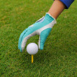 Royalty-Free Stock Photo: Gloved hand putting a golf ball on a tee