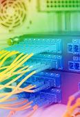Sala de servidores de rede de comunicação e internet — Fotografia Stock