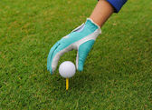 Gloved hand putting a golf ball on a tee — Stock Photo