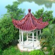 Hot spring on a river with chinese gloriette — Stock Photo
