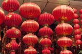 Festive chinese red lantern decorations — Stock Photo