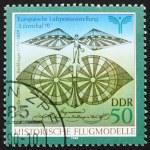 ������, ������: Postage stamp GDR 1990 Flying Machine by Albrecht Berblinger