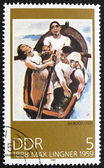 Postage stamp GDR 1988 In the Boat, Painting by Max Lingner — Stock Photo