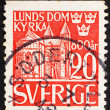 Postage stamp Sweden 1946 View of Lund Cathedral - ストック写真