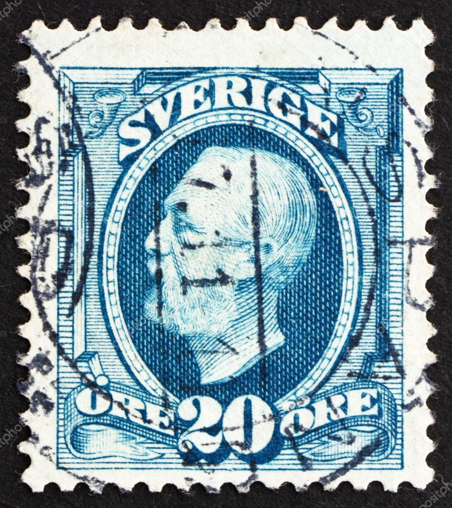 SWEDEN - CIRCA 1891: a stamp printed in the Sweden shows King Oscar II, King of Sweden, circa 1891 — Stock Photo #10803358