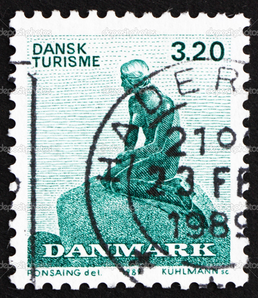 DENMARK - CIRCA 1989: a stamp printed in the Denmark shows The Little Mermaid, Sculpture by Edvard Eriksen, circa 1989 — Stock Photo #10806410