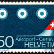 Foto Stock: Postage stamp Switzerland 1968 Aircraft Tail and Satellites