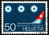 Los satélites y la estampilla suiza 1968 aviones cola — Foto de Stock