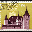 Postage stamp Switzerland 1958 Nyon Castle and Corinthian Capita — Stock Photo