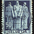 Stock Photo: Postage stamp Switzerland 1941 Three Swiss, Oath on Rutli Mo