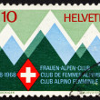 Postage stamp Switzerland 1968 Mountains and Emblem — Stock Photo
