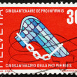 图库照片: Postage stamp Switzerland 1970 Pro Infirmis Emblem, Help Disable