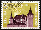 Postage stamp Switzerland 1958 Nyon Castle and Corinthian Capita — Foto Stock