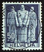 邮资邮票瑞士 1941年三个瑞士人,誓言在吕特利莫 — 图库照片