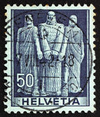 Postage stamp schweiz 1941 die drei schweizer, eid auf rutli mo — Stockfoto