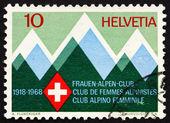 Postage stamp Switzerland 1968 Mountains and Emblem — Stock Photo