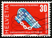 Postage stamp Switzerland 1970 Pro Infirmis Emblem, Help Disable — ストック写真