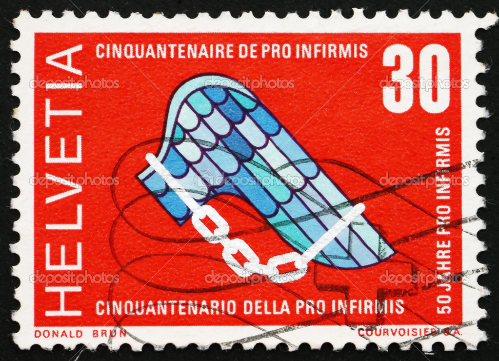 SWITZERLAND - CIRCA 1970: a stamp printed in the Switzerland shows Pro Infirmis Emblem, 50th Anniversary of the Pro Infirmis Foundation, Help Disabled, circa 1970 — Stock Photo #10865458