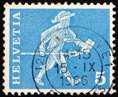 邮票 1960年瑞士信使,弗里堡 — 图库照片