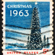 Postage stamp USA 1963 National Christmas Tree and White House — Stock Photo