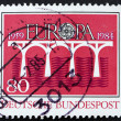 Postage stamp Germany 1984 Golden Key with C.E.P.T Emblem, Europ — Stock Photo