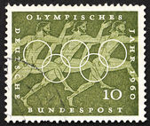 Postage stamp Germany 1960 Sprinters, Sport Scene from Greek Urn — Stock Photo